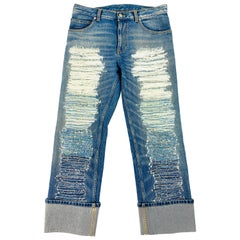 Alexander McQueen Blue Ripped Straight Denim Jeans Size 42