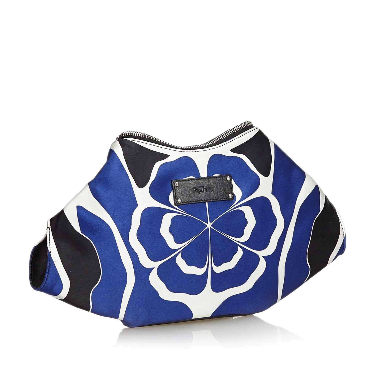 ed8908fd605a Alexander Mcqueen Blue Satin Fabric De Manta Union Jack Clutch Bag Italy at  1stdibs