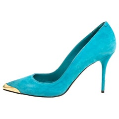 Alexander McQueen Blue Sued Pointed Toe Pumps Size 39.5