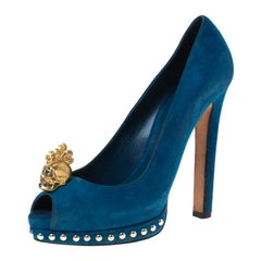 Alexander McQueen Blue Suede Crystal Embellished Skull Peep Toe Pumps Size 39.5