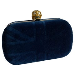 Alexander McQueen Blue Velvet Britannia Skull Box Clutch