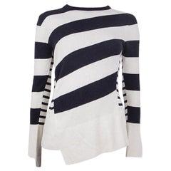 ALEXANDER MCQUEEN blue & white wool STRIPED ASYMMETRIC Sweater XS