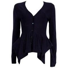 Alexander McQueen blue wool PEPLUM Cardigan Sweater S