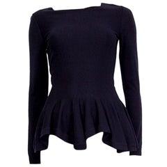 Alexander McQueen blue wool PEPLUM Sweater S