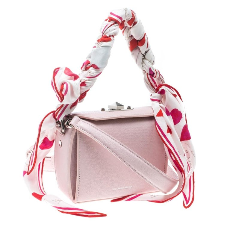 Women's Alexander McQueen Blush Pink Leather Scarf Box Shoulder Bag For Sale