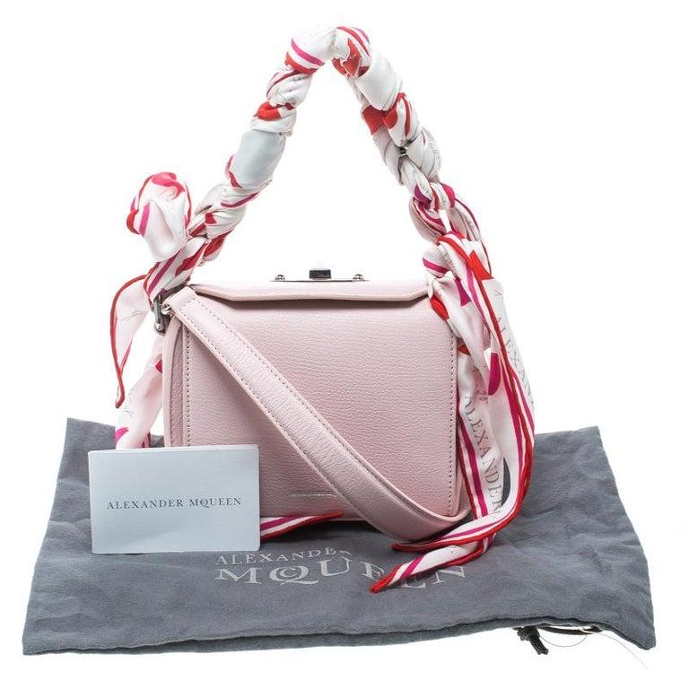 bbc30f3b8f9 Alexander McQueen Blush Pink Leather Scarf Box Shoulder Bag For Sale ...
