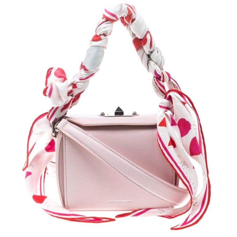 Alexander McQueen Blush Pink Leather Scarf Box Shoulder Bag For Sale