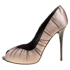 Alexander McQueen Blush Pink Satin With Black Ruched Mesh Peep Toe Pumps Size 38