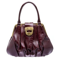 Alexander Mcqueen Bordeaux Croc Embossed Patent Leather Elvie Satchel