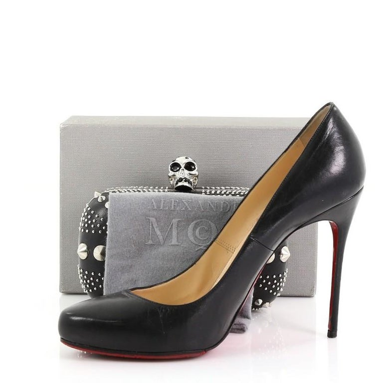 Black Alexander McQueen Britannia Skull Box Clutch Studded Leather Small For Sale
