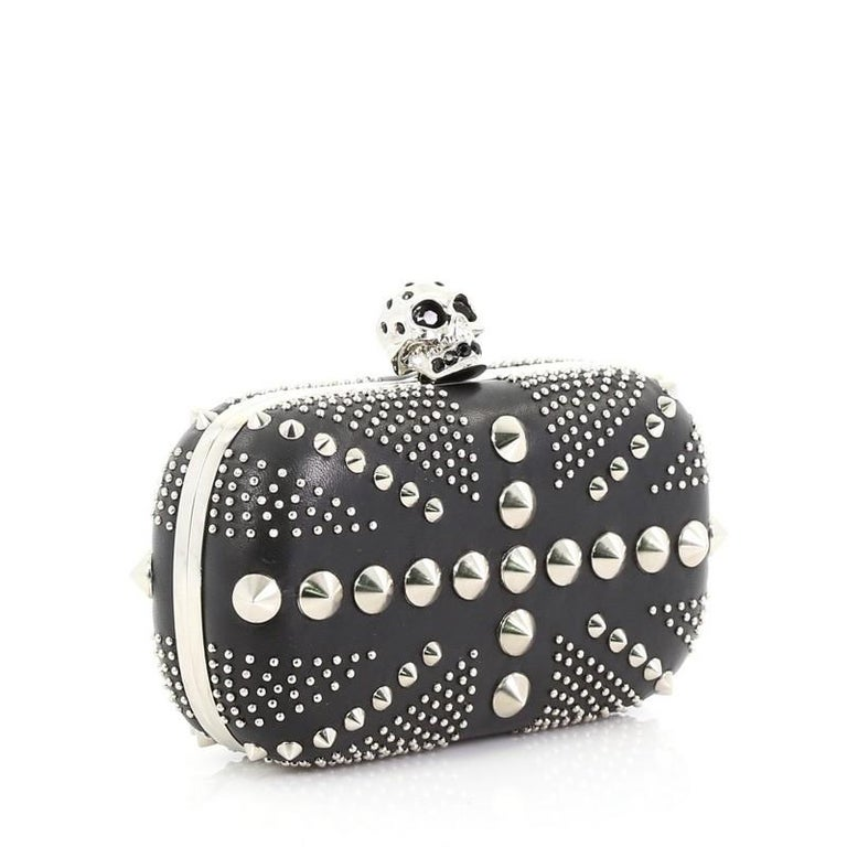 Alexander McQueen Britannia Skull Box Clutch Studded Leather Small In Good Condition For Sale In New York, NY