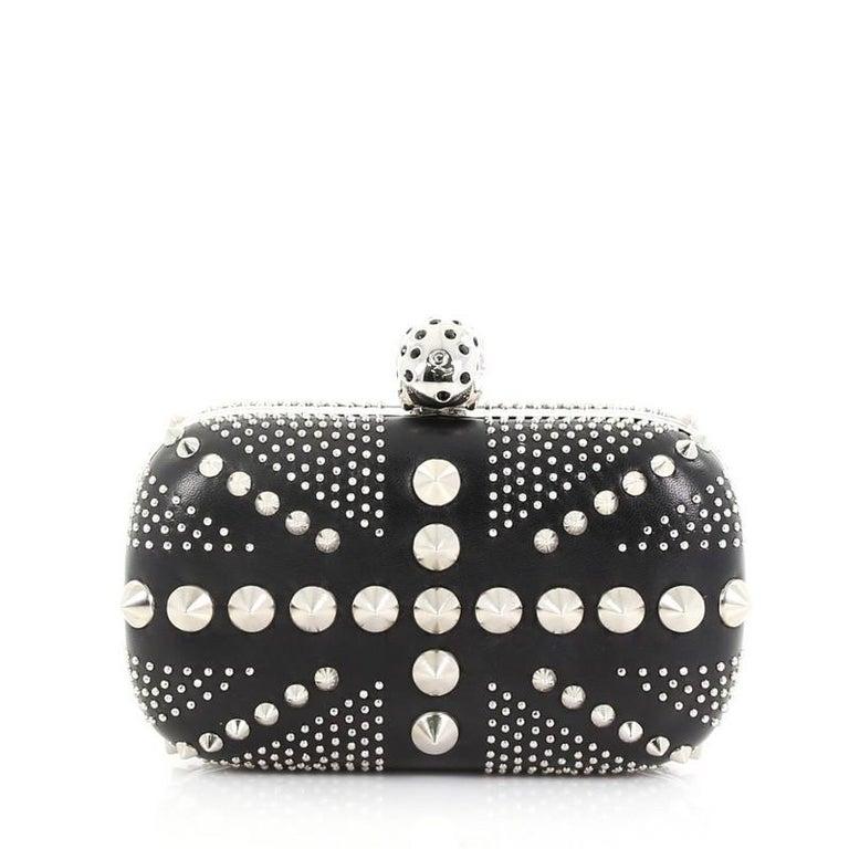 Women's Alexander McQueen Britannia Skull Box Clutch Studded Leather Small For Sale