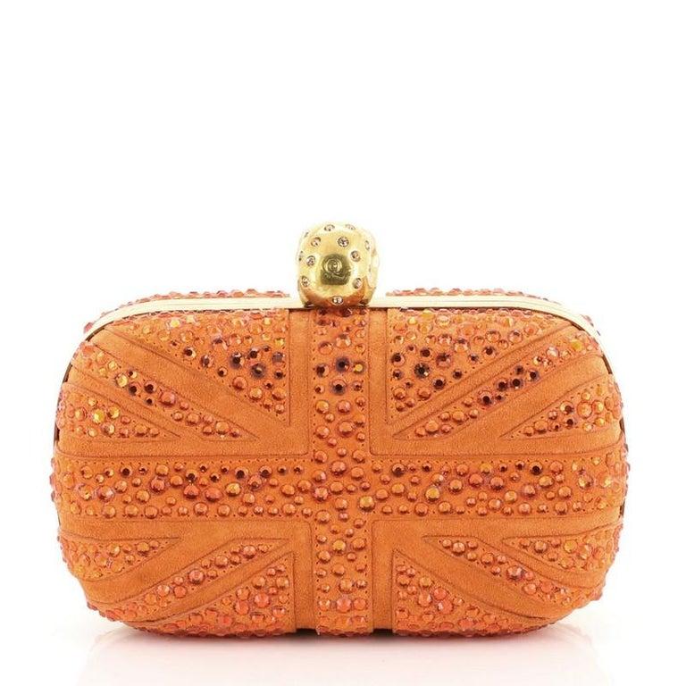 Orange Alexander McQueen Britannia Skull Box Clutch Studded Suede Small For Sale