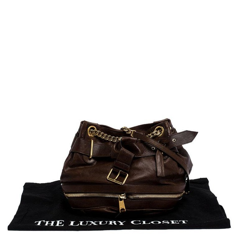 Alexander McQueen Brown Leather Faithful Bucket Tote For Sale 6
