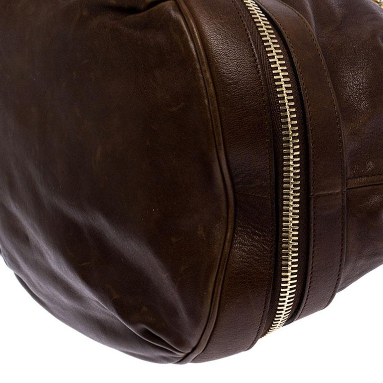 Alexander McQueen Brown Leather Faithful Bucket Tote For Sale 1