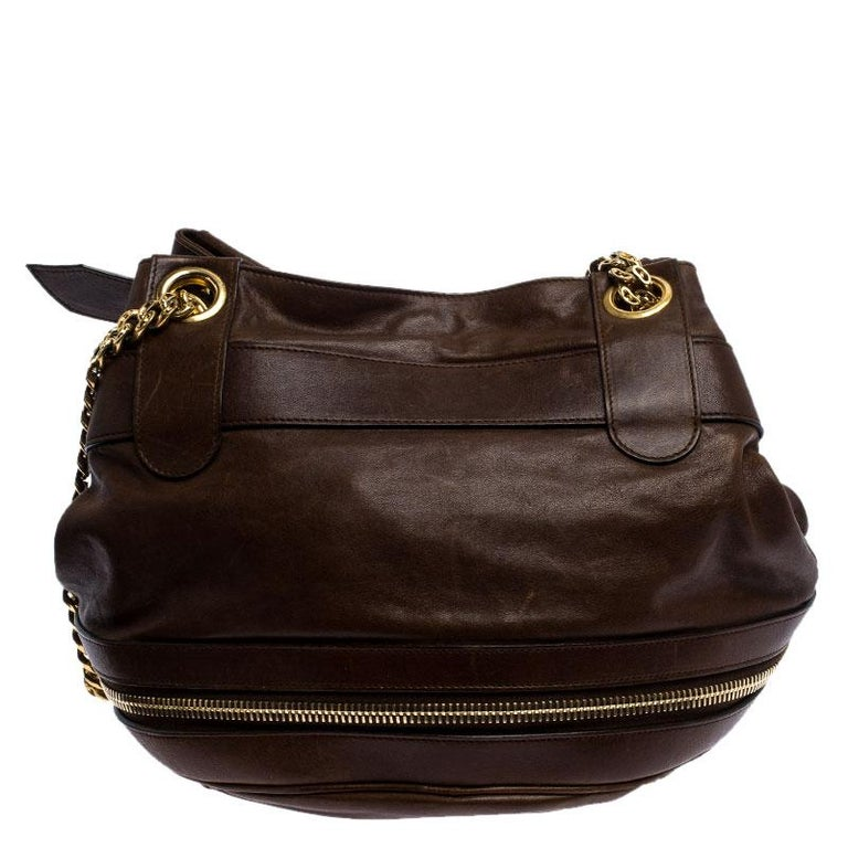 Alexander McQueen Brown Leather Faithful Bucket Tote For Sale 2
