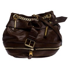 Alexander McQueen Brown Leather Faithful Bucket Tote