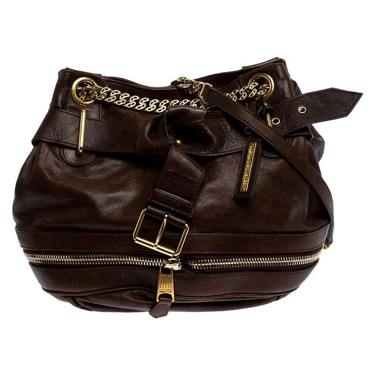 Alexander McQueen Brown Leather Faithful Bucket Tote For Sale