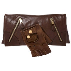 Alexander McQueen Brown Leather Faithful Glove Clutch