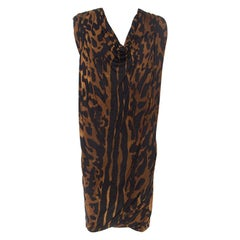 Alexander McQueen Brown Ocelot Print Chiffon Midi Dress S