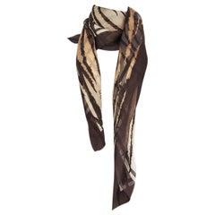 ALEXANDER MCQUEEN brown TIGER PRINT silk chiffon Scarf