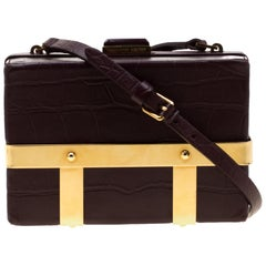 Alexander McQueen Burgundy Croc Embossed Leather Cage Box Bag