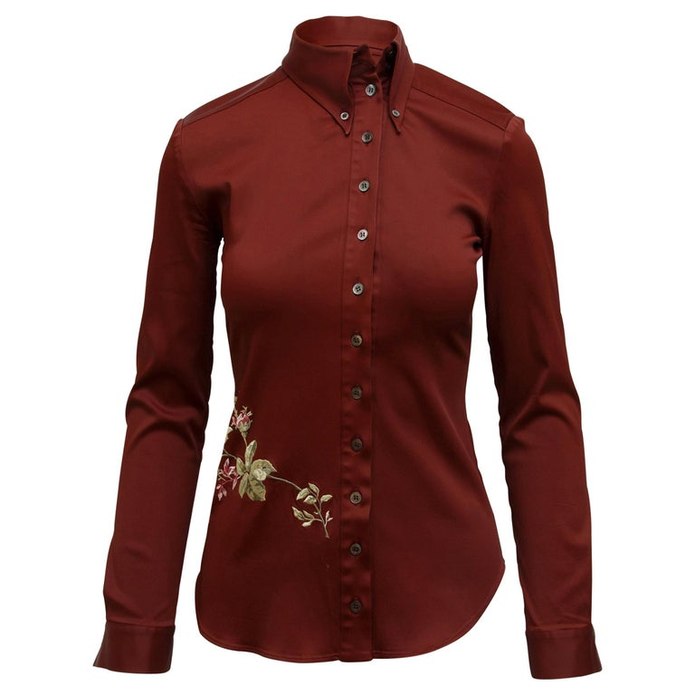 Alexander McQueen Burgundy Fall 1997 Embroidered Blouse For Sale