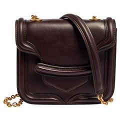 Alexander McQueen Burgundy Leather Mini Heroine Chain Crossbody Bag