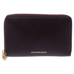 Alexander McQueen Burgundy Leather Zip Around Compact Wallet