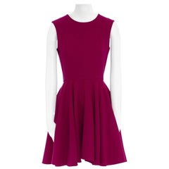 ALEXANDER MCQUEEN burgundy red wool crepe fit flared cocktail dress IT40 S
