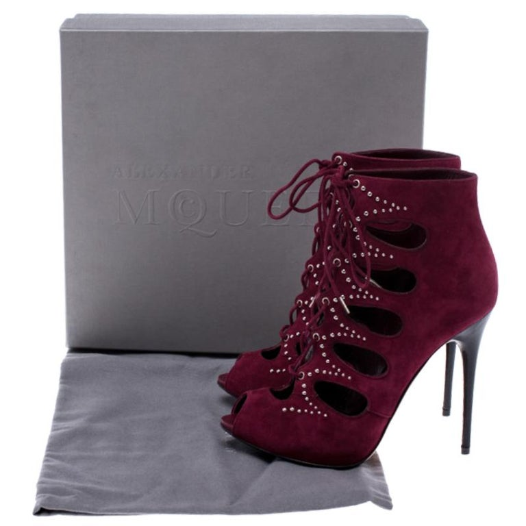 Alexander McQueen Burgundy Suede Silver Studded Lace Up Booties Size 37 For Sale 3