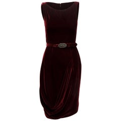 Alexander McQueen Burgundy Velvet Sleeveless Dress