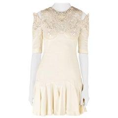 Alexander McQueen Buttercream Crepe Embellished Cold Shoulder Godet Dress S