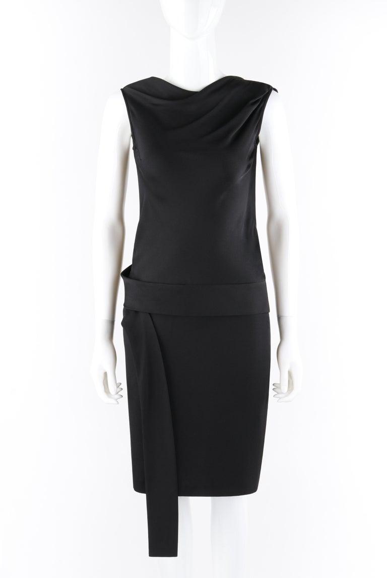 ALEXANDER McQUEEN c.2007 Black Ribbon Band Silk Drop Waist Sleeveless Dress  Brand / Manufacturer: Alexander McQueen Designer: Alexander McQueen Collection: c.2007 Style: Dress Color(s): Black Lined: No Marked Fabric Content: 100% Silk Additional