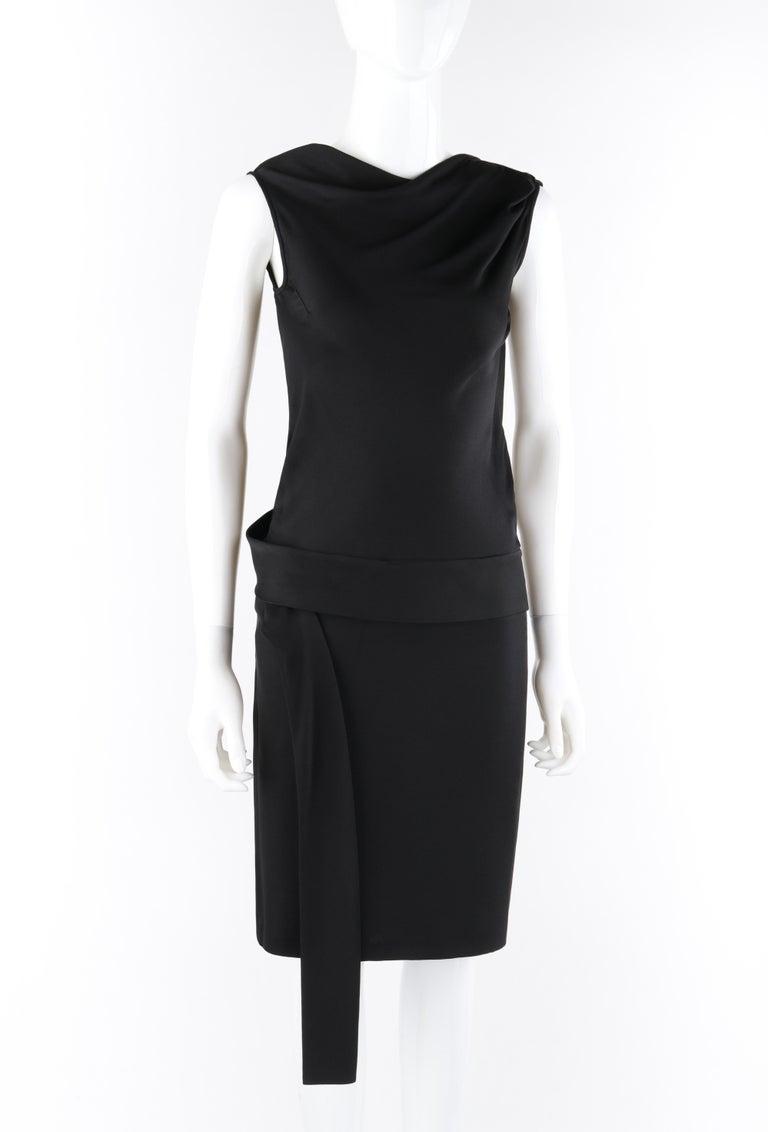 ALEXANDER McQUEEN c. 2007 Black Ribbon Band Silk Drop Waist Sleeveless Dress 38 In Good Condition For Sale In Thiensville, WI