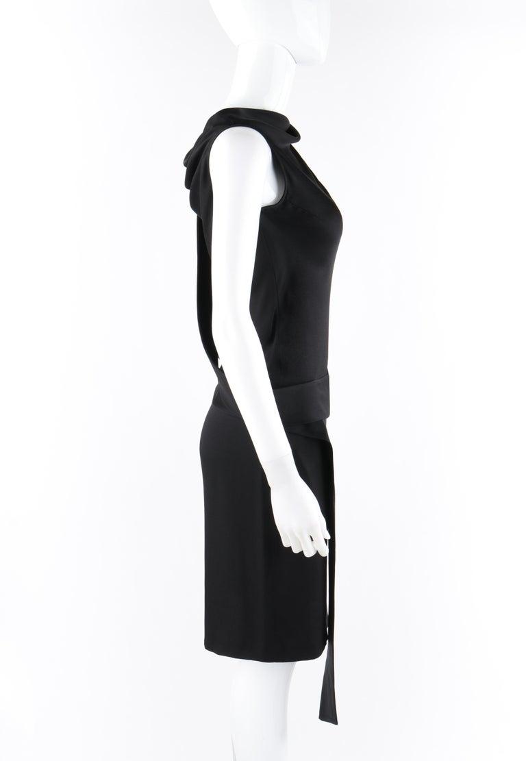 Women's ALEXANDER McQUEEN c. 2007 Black Ribbon Band Silk Drop Waist Sleeveless Dress 38 For Sale