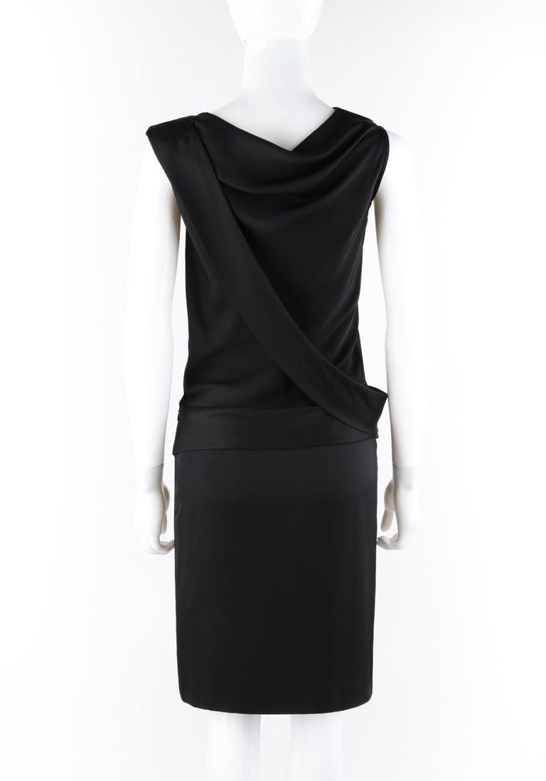 ALEXANDER McQUEEN c. 2007 Black Ribbon Band Silk Drop Waist Sleeveless Dress 38 For Sale 1