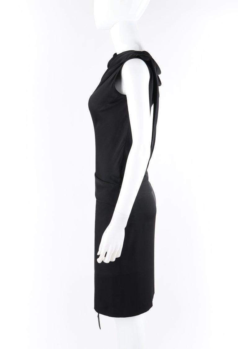 ALEXANDER McQUEEN c. 2007 Black Ribbon Band Silk Drop Waist Sleeveless Dress 38 For Sale 2
