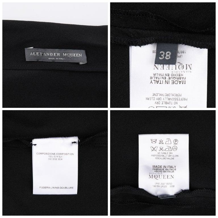 ALEXANDER McQUEEN c. 2007 Black Ribbon Band Silk Drop Waist Sleeveless Dress 38 For Sale 3