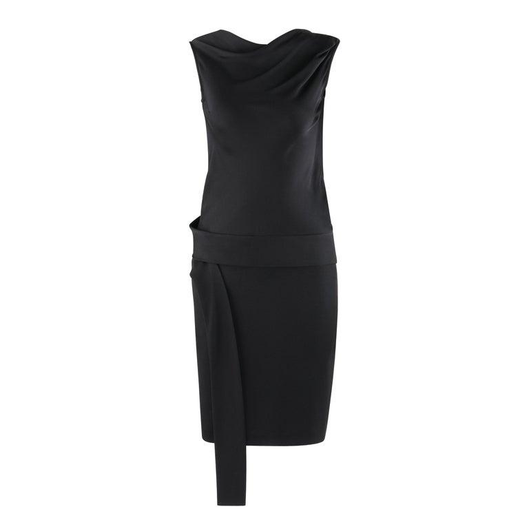 ALEXANDER McQUEEN c. 2007 Black Ribbon Band Silk Drop Waist Sleeveless Dress 38 For Sale