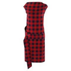ALEXANDER McQUEEN c. 2007 Red / Navy Check Ribbon Band Silk Drop Waist Dress