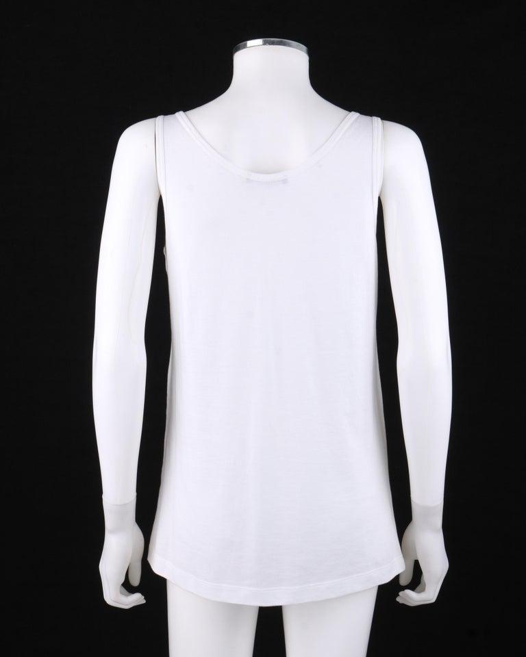 Gray ALEXANDER McQUEEN c. 2009 White Silkscreen Lips Cotton V-Neck Tank Top  For Sale