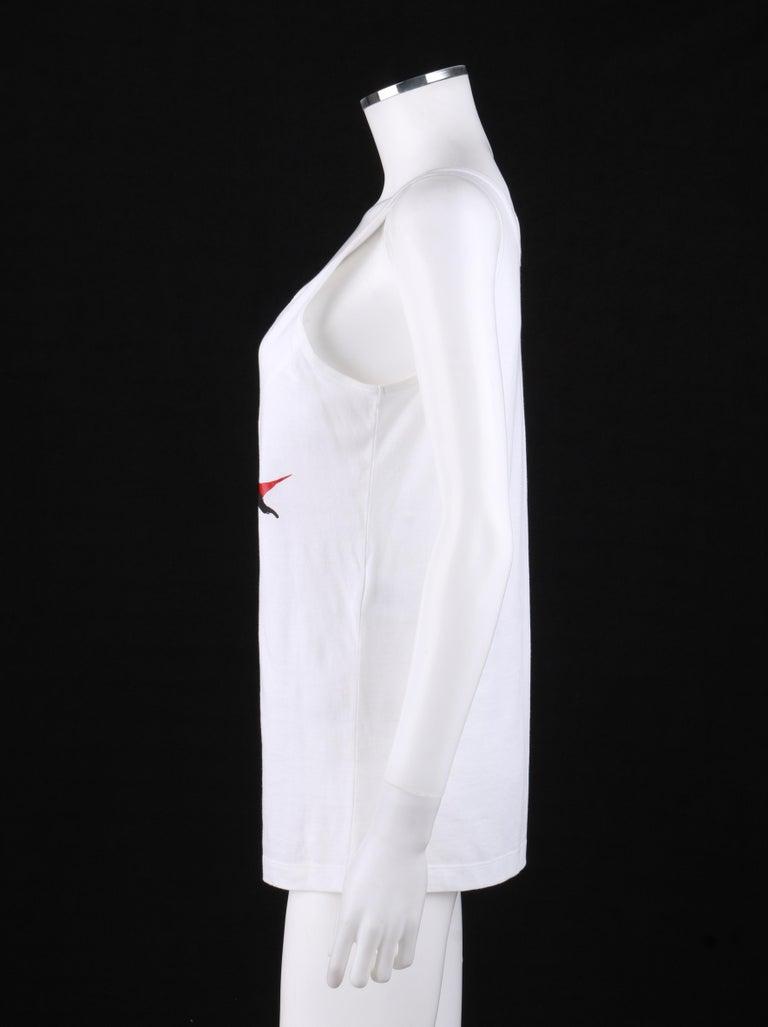 Women's ALEXANDER McQUEEN c. 2009 White Silkscreen Lips Cotton V-Neck Tank Top  For Sale