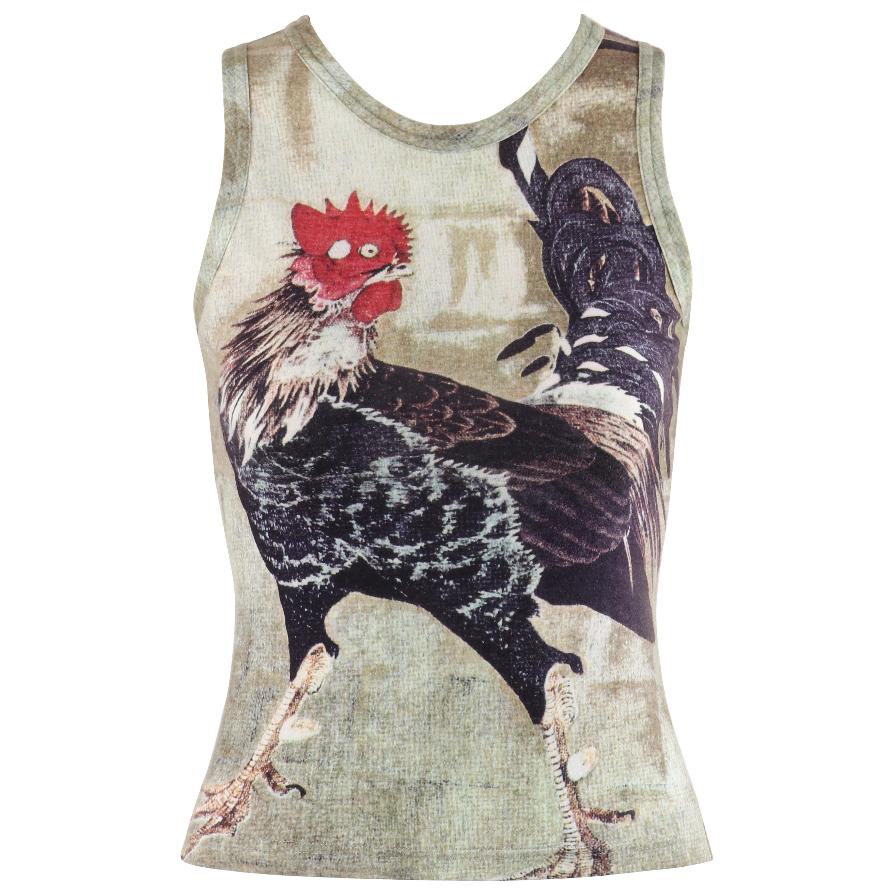 ALEXANDER McQUEEN c.1990's Multicolor Large Rooster Cock Zip-Up Fitted Tank Top
