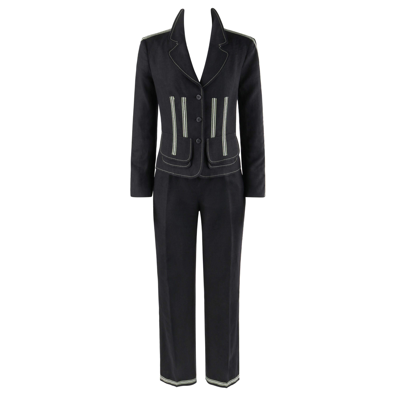 ALEXANDER McQUEEN c.1996 Black Linen Stripe Detail Blazer Trouser Pant Suit Set
