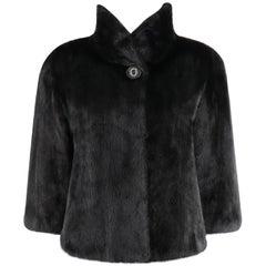 """ALEXANDER McQUEEN c.1996 """"Dante"""" Black Mink Fur Crop Sleeve Short Coat Jacket"""