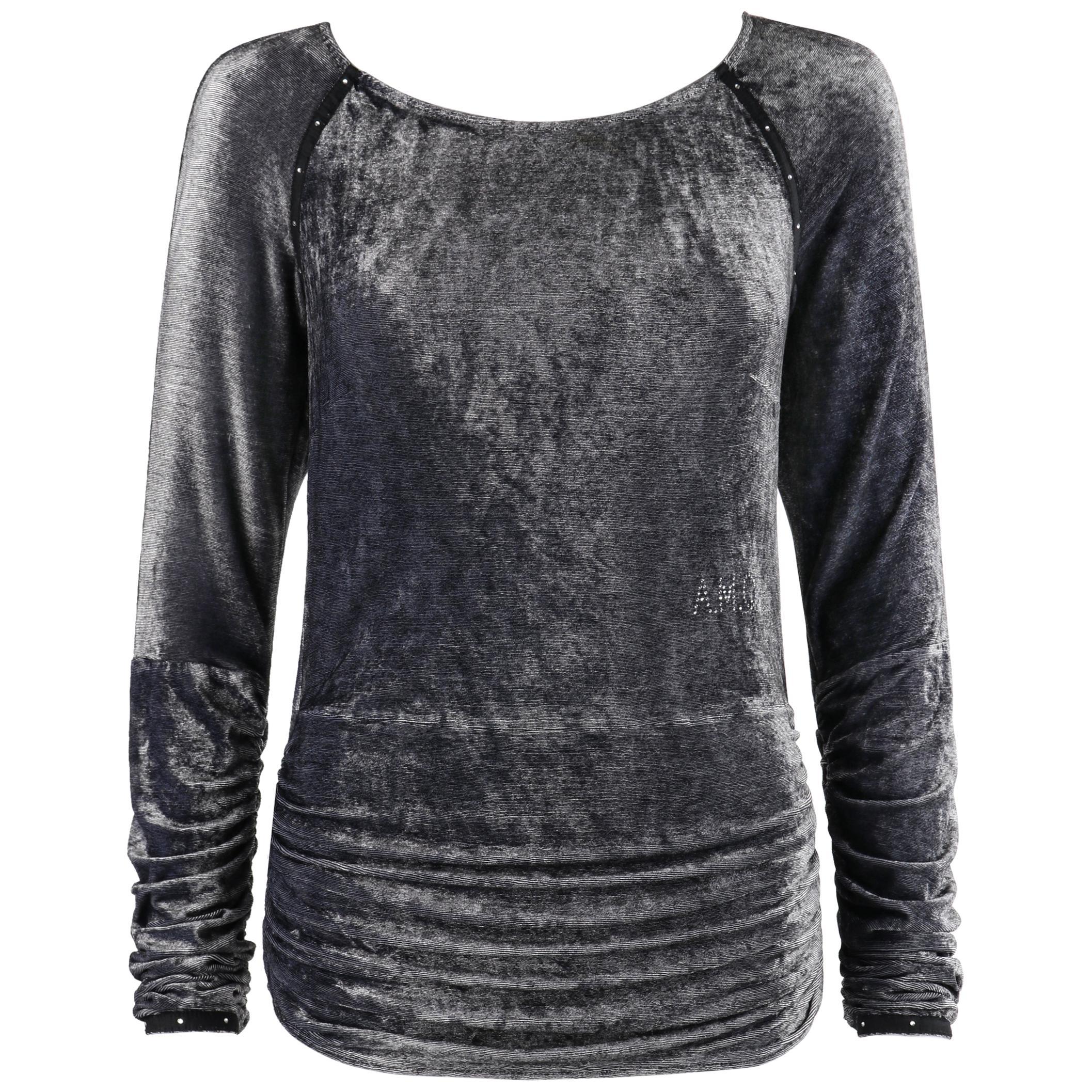 ALEXANDER McQUEEN c.1996 Gray Embellished Crushed Velvet Long Sleeve Top