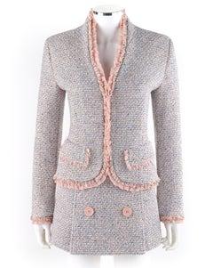 ALEXANDER McQUEEN c.1996 Pink Blue Boucle Tweed Blazer Jacket Mini Skirt Set NWT