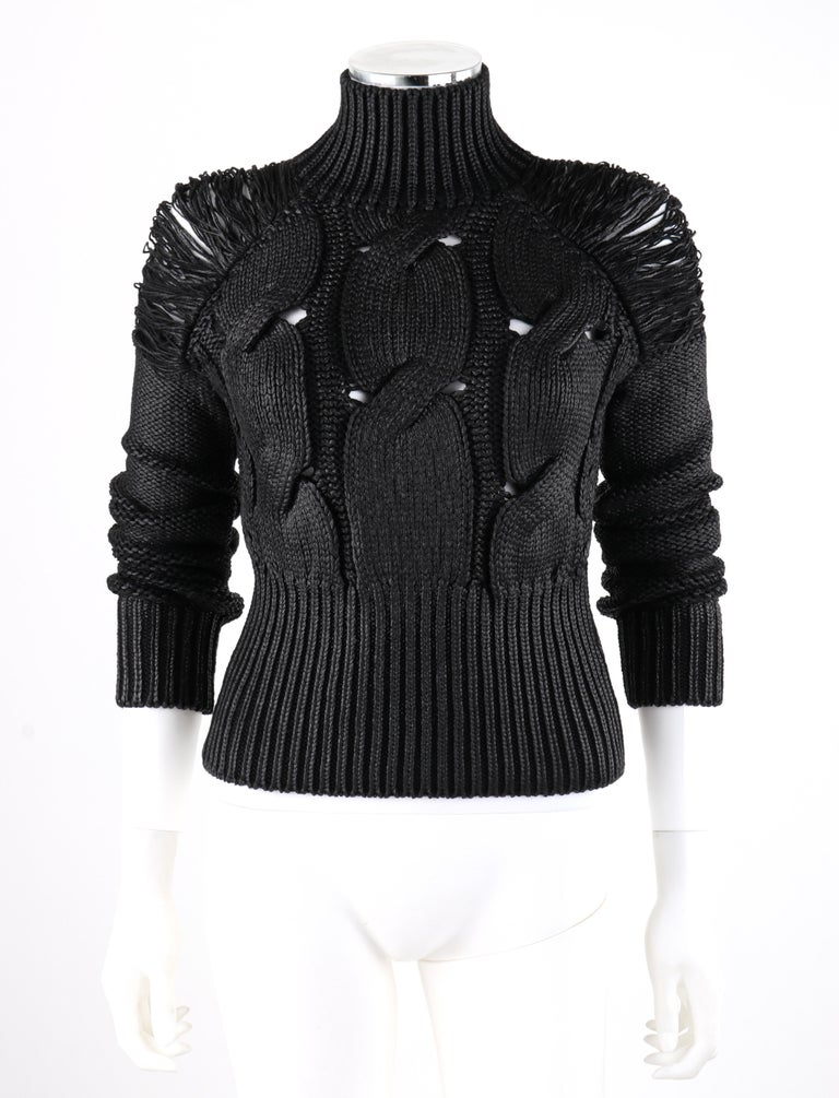 ALEXANDER McQUEEN c.2001 Black Metallic Glazed Distressed Turtleneck Sweater  Brand / Manufacturer: Alexander McQueen Designer: Alexander McQueen Collection: c.2001 Style: Turtleneck sweater Color(s): Shades of black, metallic black (finish) Lined: