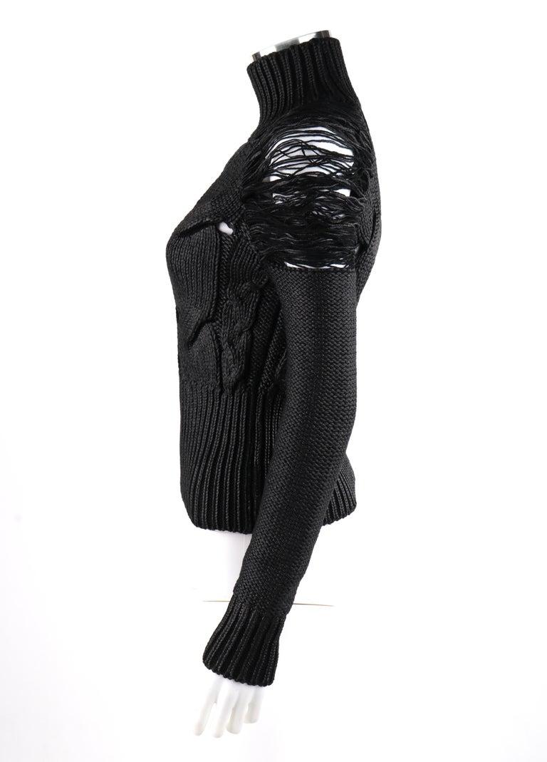 ALEXANDER McQUEEN c.2001 Black Metallic Glazed Distressed Turtleneck Sweater For Sale 1